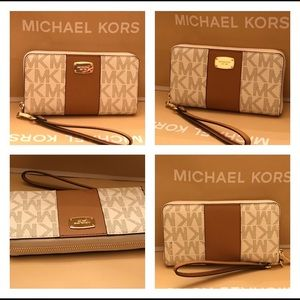 MICHAEL KORS JET SET CENTER STRIPE WALLET PH CASE